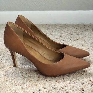 Brown Leather Pointed Toe Pumps
